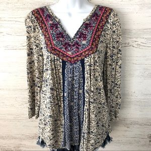 LUCKY BRAND Floral Embroidered Boho Top